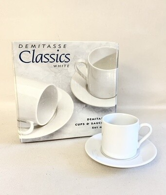 Demitasse Classic White Cups and Saucers Set of 4