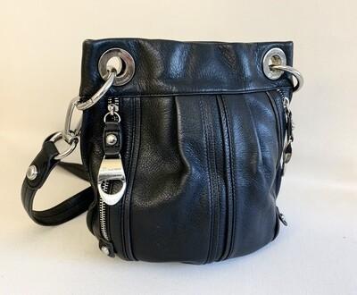 B. Makowsky Black Leather Crossbody Bag