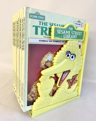 Sesame Street Treasury Library Books - Set of 15 with Big Bird Book Holder