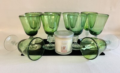 Set of Holiday Goblets and Yankee Candle (Sugar Frost Christmas Scent)