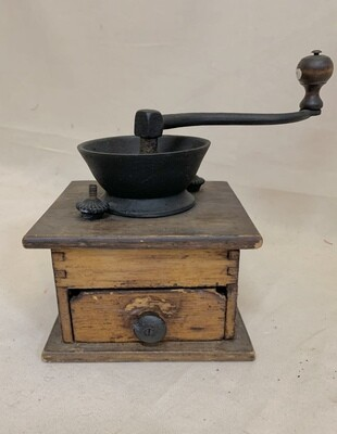 Rustic Antique Hand Crank Wooden Coffee Grinder