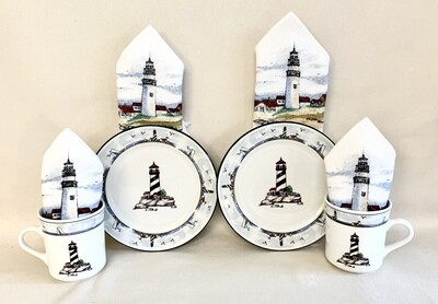 """""""Nubble"""" Lighthouse Coffee and Dessert Set for (2)"""