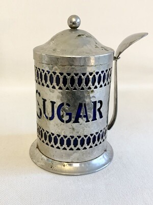 Vintage Hammered Aluminum Coffee Canister with Blue Lining