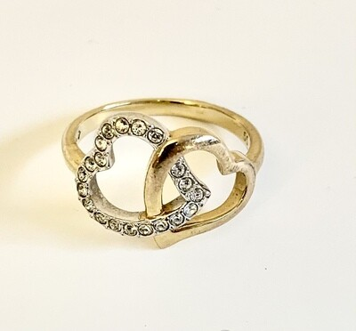 Two Hearts Ring with Swarovski Crystals