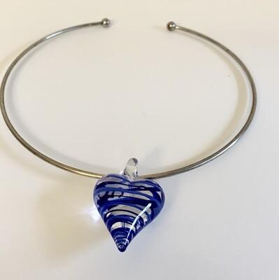 Blue Glass Heart Choker