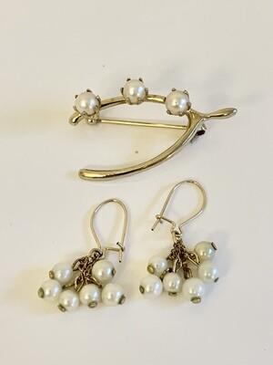 Genuine Pearl Earrings and Pearl Wishbone Pin