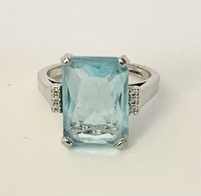 Sterling Silver Ring with Blue Glass Stone