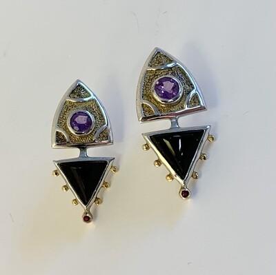 Onyx and Amethyst Earrings