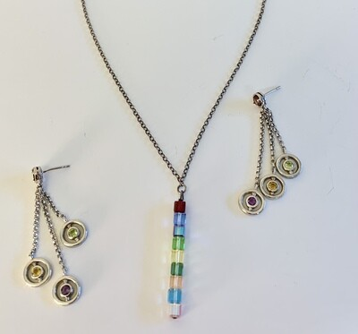 Rainbow Bead Necklace and Earring Set