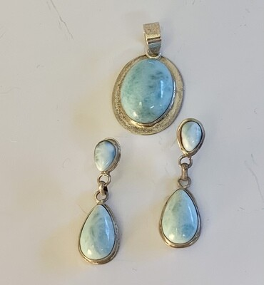 Larimar & Sterling Pendant and Earring Set