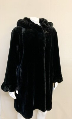 Jones New York Black Faux Fur Coat