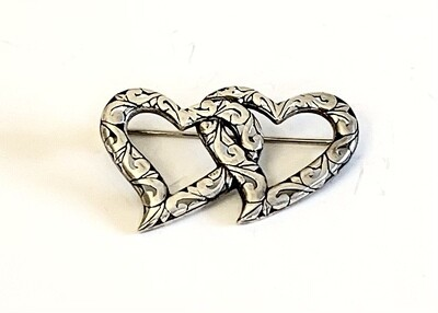 Vintage Sterling Silver Double Heart Pin