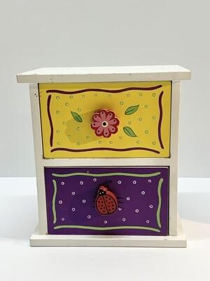 Decorated 2-Drawer Jewelry/Trinket Box