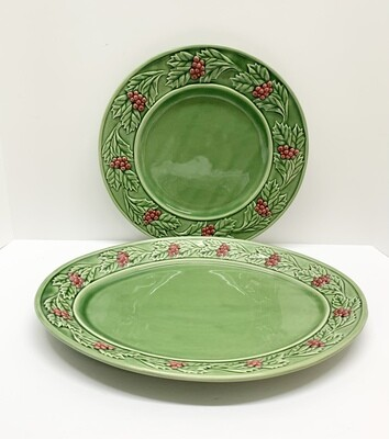 Bordallo Pinheiro Christmas Holly & Berries Large Serving Platter & Plate