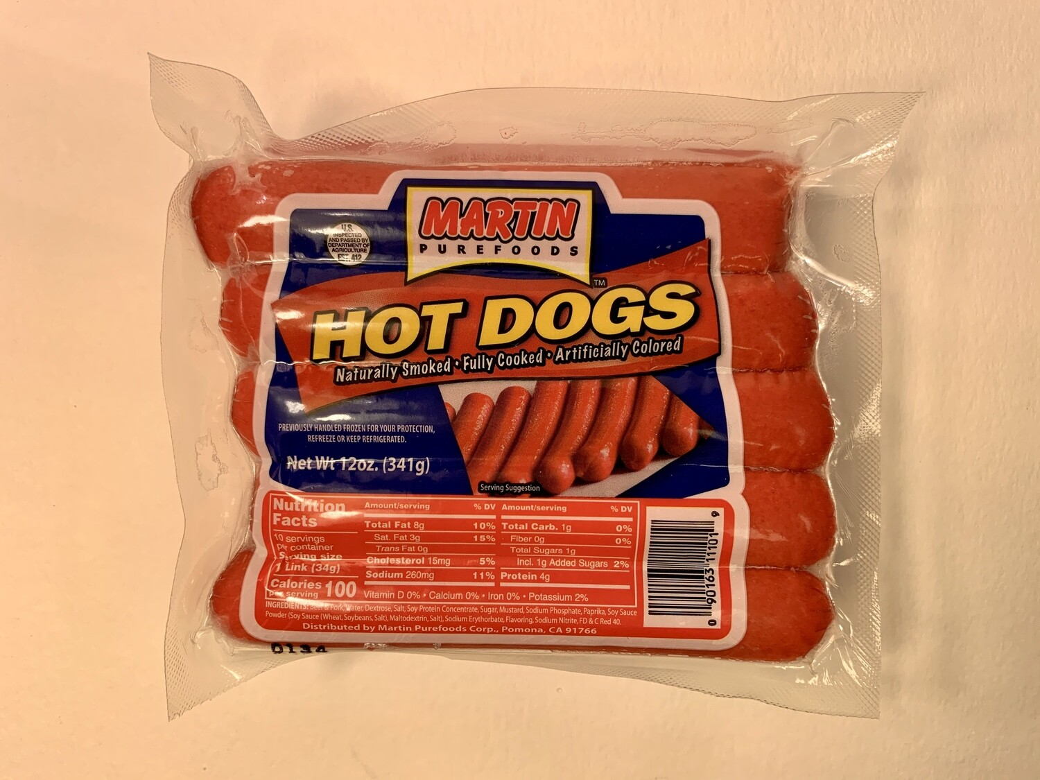 Martin Purefoods - Hot Dogs - 341 Grams
