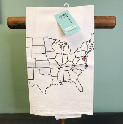 Tea Towel Map With Heart MD