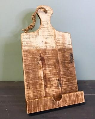 Tablet Holder Wood White Dipped Finish