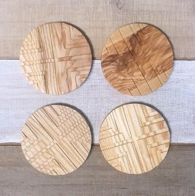 Coaster Set of 4 Geo Wood