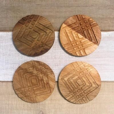 Coaster Set of 4 Facet Wood