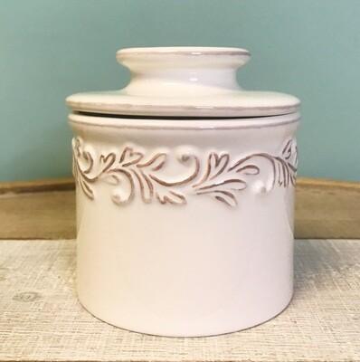 Butter Bell Crock Antique White Linen