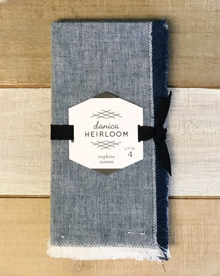 Chambray Heirloom Napkins Midnight Set Of 4