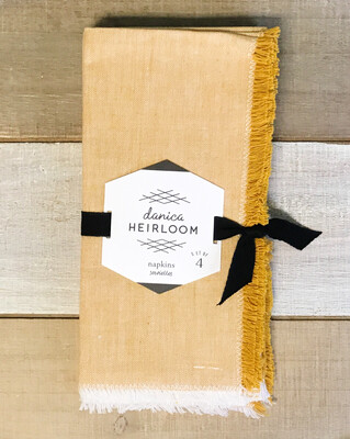 Chambray Heirloom Napkins Ochre Set Of 4