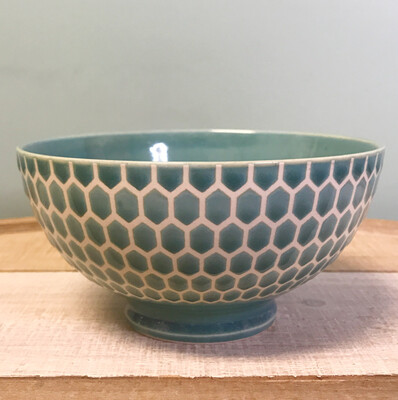 """Bowl Cereal Embossed Honeycomb Teal 6"""""""