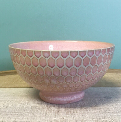 """Bowl Cereal Embossed Honeycomb Pink 6"""""""