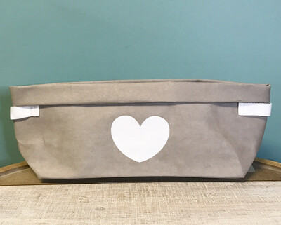 Washable Storage Basket With Gray Heart