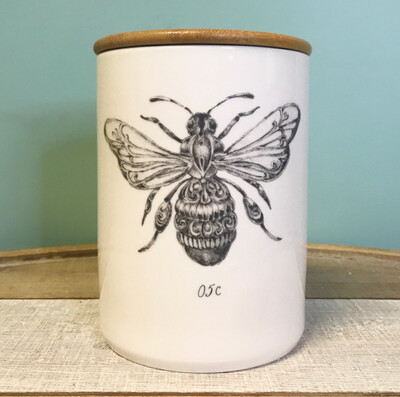 Stoneware Canister Jar With Bamboo Lid and Bee Design