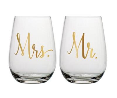 Stemless Wine Set - Mr. & Mrs.