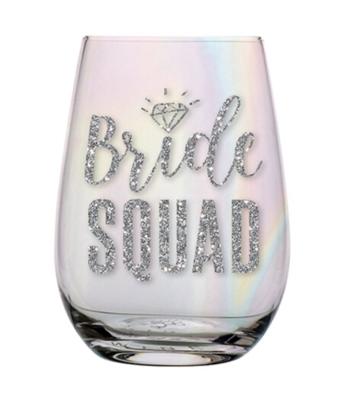 Stemless 20 Oz Wine Glass Bride Squad