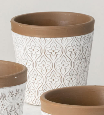 White Clay Flower Pot With Country Floral Pattern