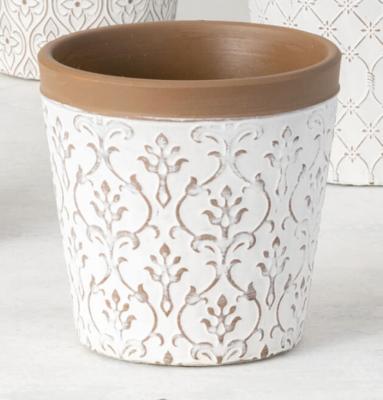 White Clay Flower Pot With Art Nouveau Floral Pattern