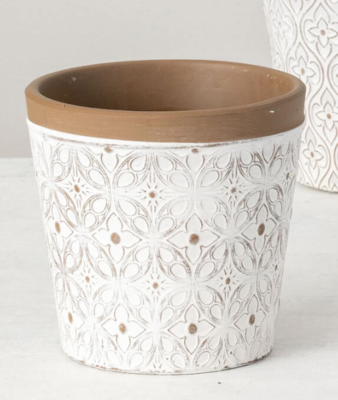 White Clay Flower Pot With Art Deco Floral Pattern
