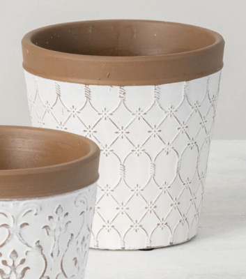 White Clay Flower Pot With Diamond Floral Pattern