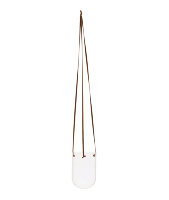 """Glass Hanging Planter With Leather Hanger 4"""""""