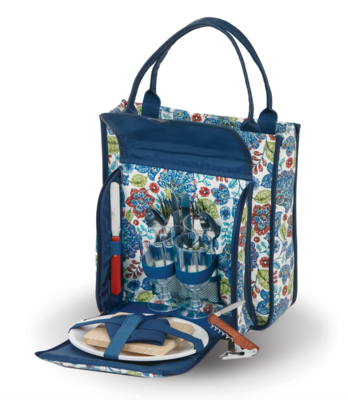 Picnic/Wine Tote For 2 Peacock Blue