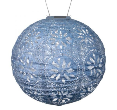 "Solar Lantern Stella Globe Boho Metallic Blue 12"""