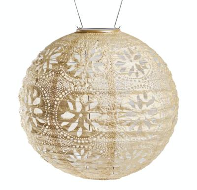 "Solar Lantern Stella Globe Boho Pearl White 12"""