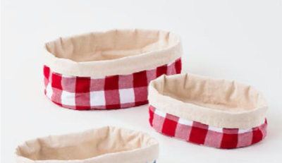 Red Gingham Canvas Oval Basket Set Of 2