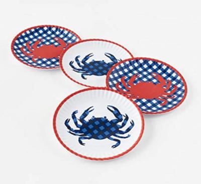 "Melamine Crab ""Paper"" Plate Set Of 4"