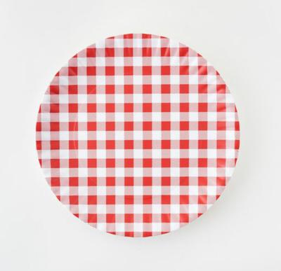 "Melamine Red Gingham ""Paper"" Plate Set Of 4"
