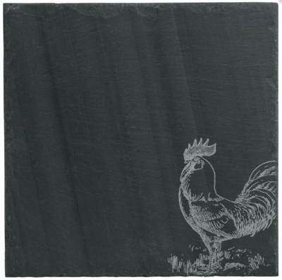 Cheese Server Charcoal Slate Rooster Large