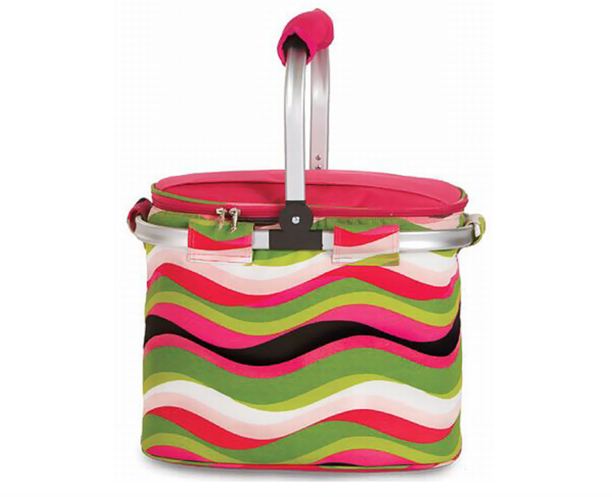 Collapsible Cooler Tote Wavy Watermelon