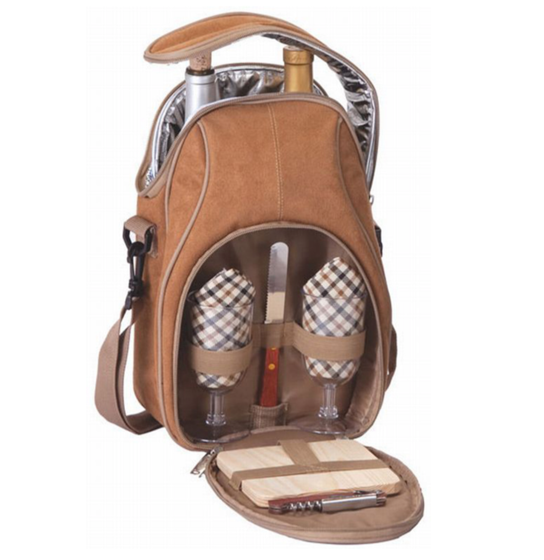 Brava Wine And Cheese Tote In Camel Micro Suede