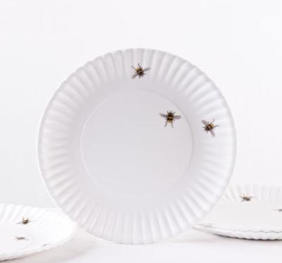 "Set Of 4 Bee ""Paper"" Melamine Plates"