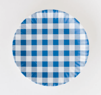 "Melamine Blue Gingham ""Paper"" Plate Set Of 4"