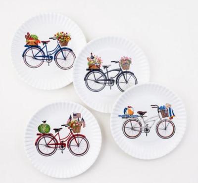 "White Bike ""Paper"" Melamine Plate"