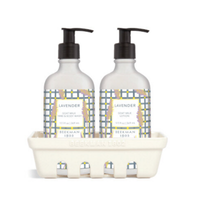 Beekman Set Of 3 Lavender Hand Care Caddy